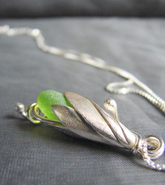 Sea Lily beach glass necklace in lime green