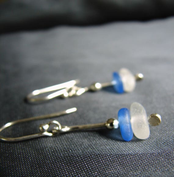 Sea Stack beach glass earrings in blue and white