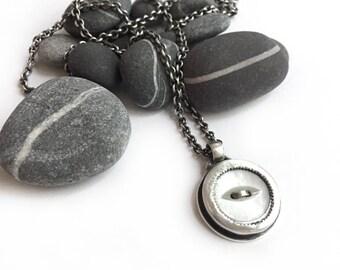Bezel Set Vintage Mother of Pearl Button Sterling Silver Necklace