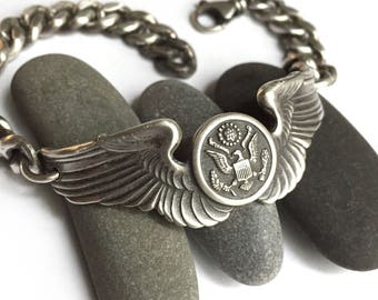 Sterling Silver Vintage World War II Air Force 3 Inch Pilot's Wings Pin Bracelet Unisex Your Size Heavy Curb Chain