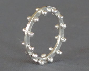 Silver Studded Band, Artisan Silver Band, Silver Ring, Pinned Silver Ring,  All Silver Band, Size 7