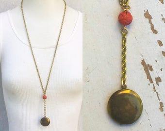 Vintage Locket Necklace Rosary style Red bead Gold Brass long Flapper Boho Romantic Love Secret compartment *BULK OPTIONS* nos zz