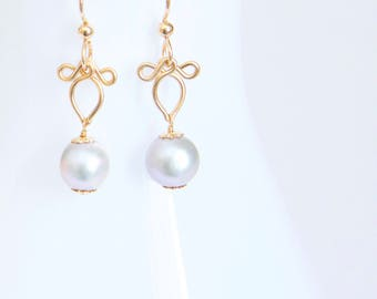 Perla - Large Grey South Sea Pearls and Gold Filled Earrings