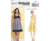 Misses Empire Waist Sleeveless Cap Sleeve Dress Sz 8 to 14 Sewing Pattern Butterick B5317