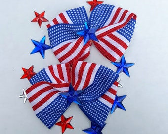 Patriotic Collar Bows - 2 Extra Large Fancy Bows- Independence Day, 4th of July, USA, American Flag