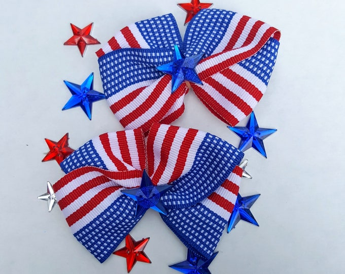 Patriotic Collar Bows - 2 Extra Large Fancy Bows