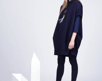 LAST ONE. Camille Dress. Oversized Navy Dress. Loose Fit Dress. AW15