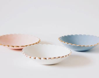 Scalloped Ring Dish. Porcelain Pastel Ring Dish. White, Rose, Grey Green and Mauve. Engagement, Bridesmaid, Hostess Gift. Gift For Her