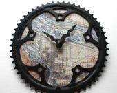 Portland Bicycle Clock  | Vintage Portland Map Clock  |  Bike Gear Clock |  Portland City Map Clock