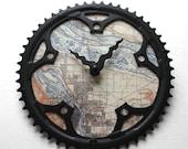 Portland Fahrrad Uhr | Jahrgang Portland Karte Uhr |  Fahrrad Getriebe Uhr |  Portland City Map Uhr