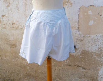 Vintage 1920s French  soft blue cotton bloomers  with embroiderys  size  S