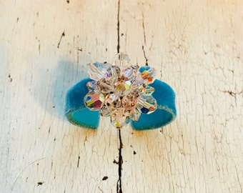 Blue Silk Velvet Adjustable Cuff with Crystal Beaded Cluster
