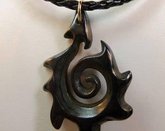 Black Carved Bone Hei Matau Stylized Maori Fish Hook on Braided Leather Cord Masculine Design Man's 19 inch Choker
