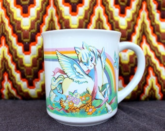 1980's Magical Rainbow Unicorn Coffee Mug . Sunny Bright Morning Cup . Adorable Cute Perfect Princess