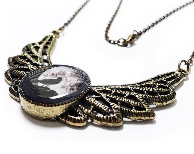 Moon and Raven Necklace, Black Crow, Handmade, Crow Necklace, Full Moon, Gothic, Bird Lover, Birds, Black Necklace, Gifts for her, Goth