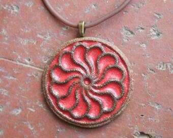 Rustic Red Pinwheel Stoneware Pendant