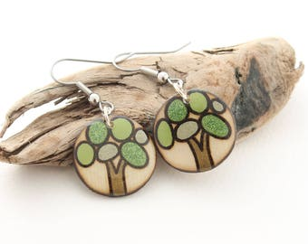 Wood Circle Tree Dangle Earrings for Women & Girls, Comfortable Lightweight Hypo Allergenic Earrings made with Stainless Steel, Epoxy Resin