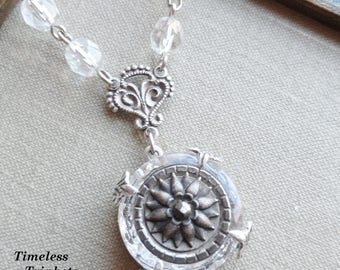 Antique Button Necklace, Depression Glass and Victorian Button, Winter Flower, Antique Silver Ox Finish