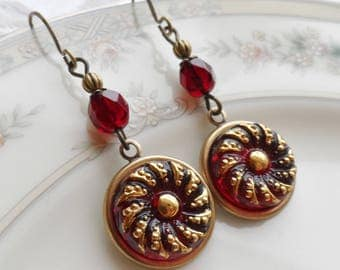 Czech Art Glass Button Earrings, Made from Vintage Molds, Ornate Design, Garnet Red with Gold Highlighting