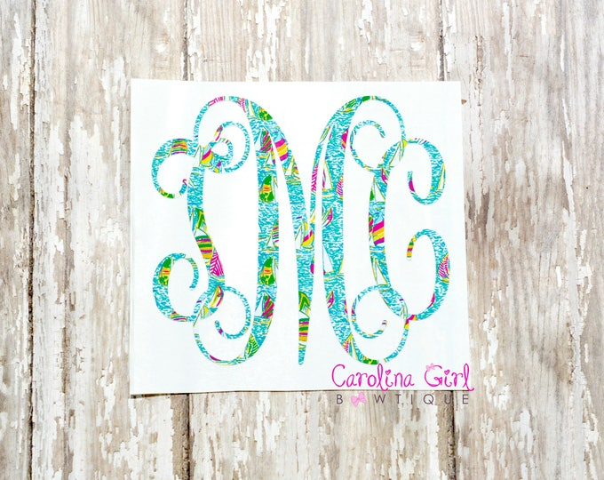 Lilly Pulitzer Inspired Vine Monogram Decal ~ Yeti Decal ~ Lilly Car Decal ~ Lilly Decal ~ Lilly Sticker