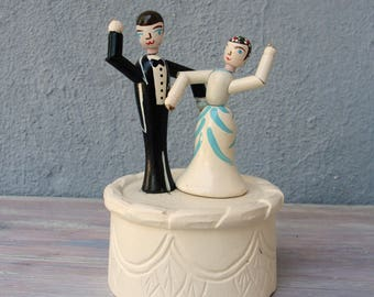 Vintage Wedding Cake Topper Wooden Hand Painted Dancing Bride and Groom 1950's