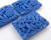 3 Stück Jahrgang 2 Loch rechteckigen blaue Perlen, japanische Milchglas Blume Blumen 27mm