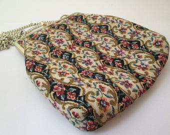 Vintage Tapestry Bag, Flower Fabric Bag, small fabric purse, carpet bag, floral tapestry bag, purse chain handle, floral purse, 1970s bag