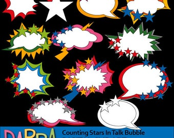 Superhero clipart - Counting stars in talk bubble clip art - Comic books speech bubble superhero clipart - digital images, commercial use