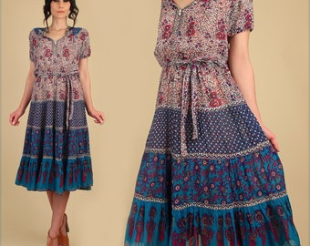 ViNtAgE Indian Cotton Dress 60's 70's // Adini Sultana // Sheer Floral India // Tiered Skirt Peasant Bohemian Hippie BoHo Festival Medium M