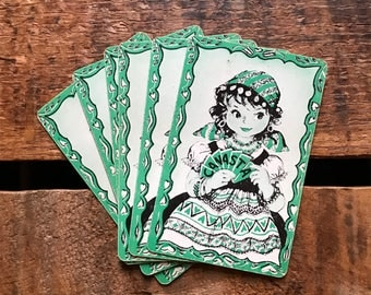 Halloween Gypsy Girl Playing Cards - Set of 6 - Vintage Cards, Vintage Playing Cards, Vintage Children Cards, Halloween Cards, Swap Cards
