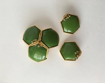 1960s Mod Green Brooch and Earring Demi Parure Set Green Hexagon w Wired Rhinestone Details