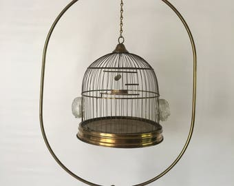 Hendryx Brass Birdcage w Oval Stand Early 20th Century Home Decor