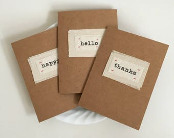 modern fabric scrap patchwork blank greeting cards,boho urban notecards, fabric sewn, stitched happy, hello , thank you cards - set of 3