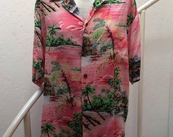 Large Hilo Hattie Pink Vintage Hawaiian Shirt