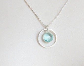 Sterling silver round  blue topaz charm with brushed karma circle necklace, karma necklace, circle necklace