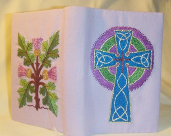 Embroidered Mini Bible Celtic Cross Thistles Entirely Handmade in Lilac inv1829
