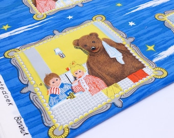 Vintage Children's fabric - Cartoon Fabric - Bear fabric - Dutch fabric - unused fabric - cotton fabric - 1.8 meter / 1.9 yard