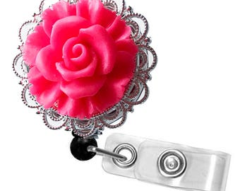 ID Badge Reel Bright Pink Rose on Silver Filigree - Resin Flower Cabochon on Retractable Badge Holder 360