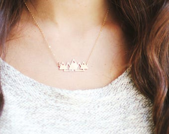 Geometric Mountains Necklace | Brass Necklace | 14k Gold Filled Necklace | Sterling Silver Necklace