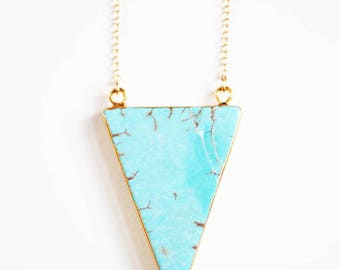 Gold Triangle Turquoise Necklace | 14k Gold Filled Chain | Stone Necklace | Long Necklace