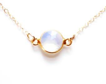 Gold Vermeil Tiny Bezel Moonstone Choker Necklace | 14k Gold Fill Necklace | Tiny Moonstone Necklace