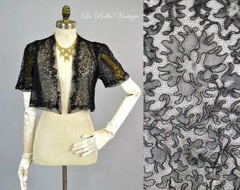 1930s Alencon Lace Bolero Vintage Black Art Deco Jacket