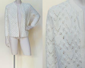 1960s Crochet Cardigan --- Vintage Cream Sweater
