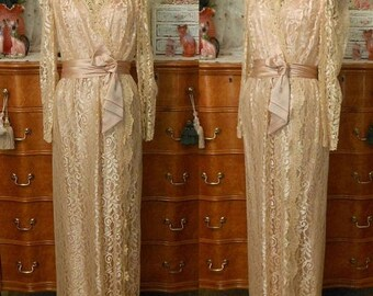 ON SALE Vintage 70s Lace Maxi Dress, 1970s Victorian Revival Evening Gown, Rose Gold Guipre Lace with Ruched Satin Cumberbund and Bow, S