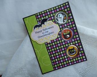 Handmade Halloween Card:  granddaughter, greeting card, multi color, handmade envelope, cats,complete card, handmade, balsampondsdesign