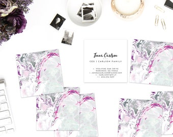Grey + Magenta + Purple Marble Calling Cards   Business Cards   Blogger Cards   Set (50)