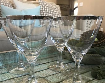 Fostoria set of 4 Water Goblets Large Wine Glasses Platinum Trim in the 1953 Wedding Ring Pattern Signed TYCAALAK