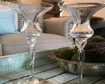 Oneida Crystal Single Light Candlesticks set of Two in the Toujours Pattern Signed w/original sticker Wedding Farmhouse Cottage TYCAALAK