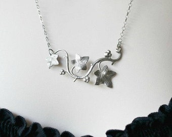 Silver Ivy Vine Leaf Pendant Necklace