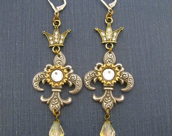 Ancient Romance Series - History's Queens Collection - Queen of Hearts Fleur de Lis Crown Earrings w/Czech Glass Crystal Beads